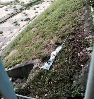傍晚 朱凱廸回老家八鄉開街站,完結時,發現有人掉了一枝直幡落河邊,幸好可以爬落去拾回。其實,不支持朱凱廸的人,不投他就可以了,無須如此手段。