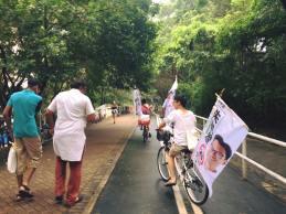 每人都在單車放枝旗,來來回回讓人看到,有朋友體驗完說這是最好的宣傳方式。
